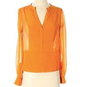 BCBGMAXAZRIA Blouse Long Sheer Sleeves Silk